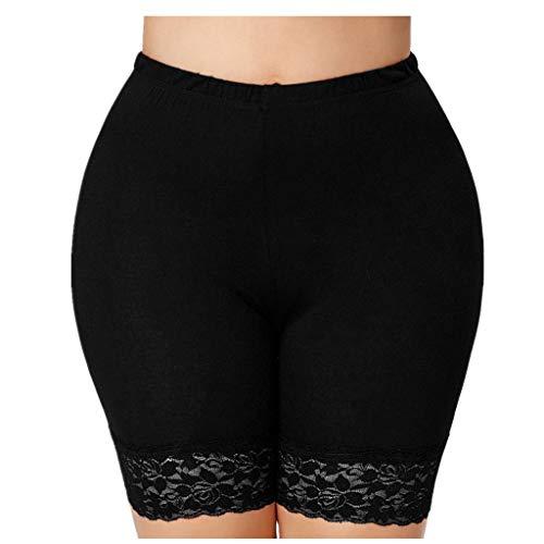 KUDICO Damen Shorts Basic Solide Casual Spitze Kurze Hose Elastische Taille Slim Fit Stretch Leggings Hot Pants Sommerhose Badehose Unterhose(Schwarz 2, XXXX-Large)