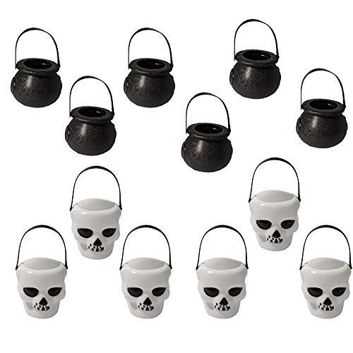 Centtechi 12pcs halloween candy kettle, mini calderone di halloween con manico per puntaspilli appesi imballaggio regalo (6pcs black witch, 6 white skull)