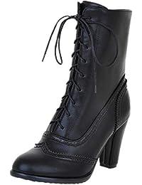28a39f39f7eb2 JUTOO Damen Classic Spitz Leder Schnür Stiefel mit hohem Absatz Middle Tube Schwarz  Stiefel
