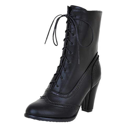 (JUTOO Damen Classic Spitz Leder Schnür Stiefel mit hohem Absatz Middle Tube Schwarz Stiefel(Schwarz,35 EU))