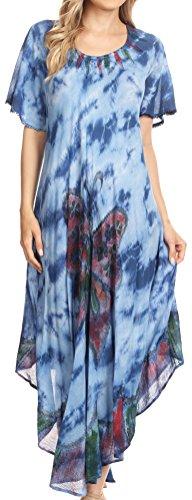 Sakkas 17256 - Nalani Womens Flowy Kaftan Tie Dye Sommerkleid Vertuschen Relax Fit - Blau - OS (Flowy Kleid Mit ärmeln)