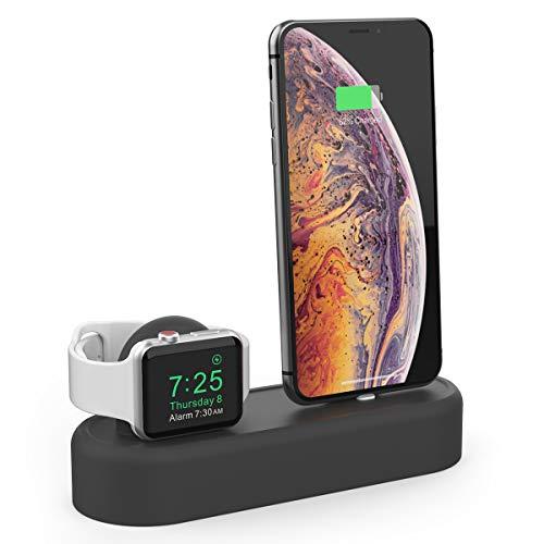 AHASTYLE 2 in 1 Silikon Ladestation Ständer Docking für Apple iWatch Series 4/3/2/1/ iPhone X Max 8 8 Plus 7 7 Plus 6 5s 4 (schwarz)
