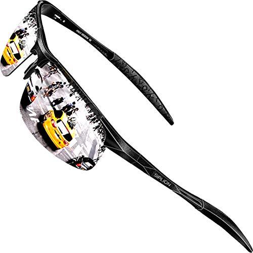 SIPLION Herren Sport Polarisierte Treiber Glasses Sonnenbrillen Al-Mg Metallrahme Ultra leicht 8177 Silver