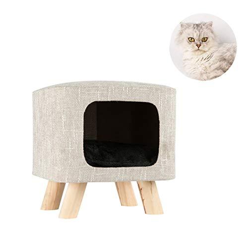 LiRongPing Haustierhaus - Katzenhocker Zwinger, Hocker Katzenbett, Katzenhaus, abnehmbare Auflage, kleines Haustierhaus Villa Spielzeug (Color : Beige) -