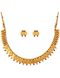 Touchstone Gold Plated Traditional Temple & Coin Necklace Set For Women