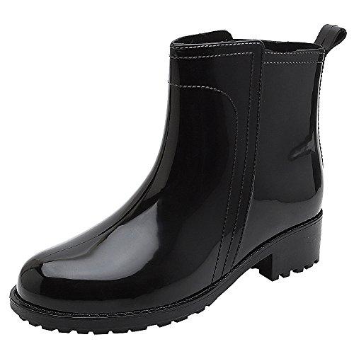 Botas de lluvia para mujer de PVC, botines de PVC, inserto elástico, botas con patrón de moda, color Gris, talla 40 EU