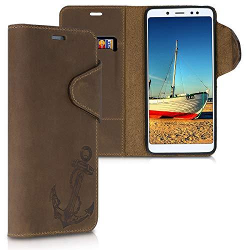 kalibri Xiaomi Redmi Note 5 (Global Version) / Note 5 Pro Hülle - Leder Handyhülle für Xiaomi Redmi Note 5 (Global Version) / Note 5 Pro - Handy Wallet Case Cover - Anker Vintage Design Braun