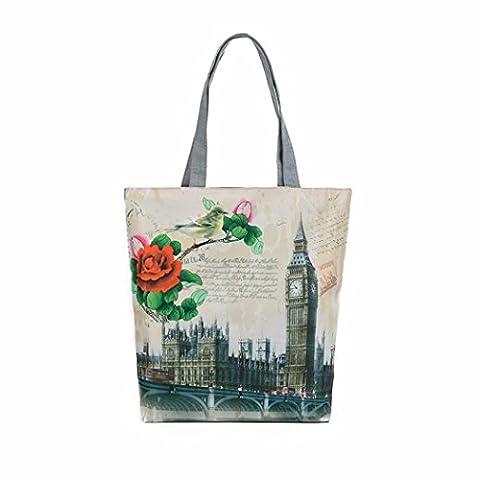 Kolylong London Big Ben Canvas Tote Casual Beach Bags Women Shopping Bag Reusable Bags (E)