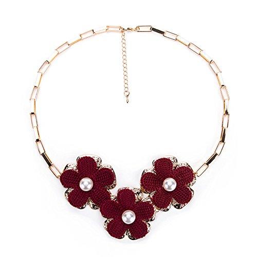 Yiyue collana donna girocollo la sig.ra s925 fashion collana argento collana girocollo con fiore ciondoli con femmina rosso