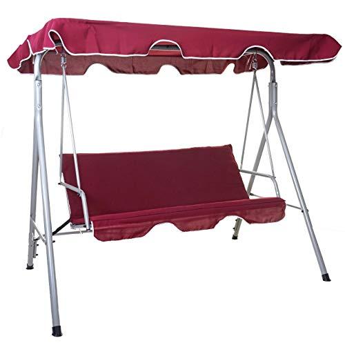Mendler Hollywoodschaukel HWC-D61, Gartenschaukel Hängeschaukel Bank, 3-Sitzer UV 50+ verstellbares Dach 197x185cm