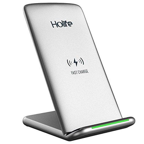 Holife Qi QC Cargador Inalámbrico Rápido, para Samsung Galaxy Note 8 / S8 / S8 Plus / S7 / S7 Edge / S6 Edge Plus / Note 5 Cargar Estándar para iPhone 8/ iPhone 8 Plus/ iPhone X Plata