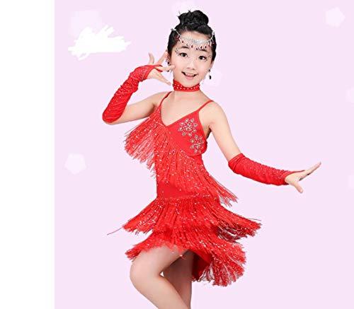 Dance Kinder Kostüm Latin - ZYLL Kinder Latin Dance Kostüme Wettbewerb Kleider Kinder Mädchen Perlen Pailletten Latin Tango Rose Rot Rot Blau,Red,XL