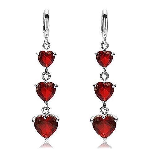Rizilia Jewellery 3 Heart Cut Red Garnet Color Gemstones Fine CZ 18K White gold Plated Dangle Drop Earrings Simple Modern Elegance [Free Jewelry Pouch]