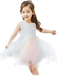 EOZY-Vestito Bimba Tutu Arcobaleno Bambina Abito Bianco Damigella Festa  Gonna Garza bb63eb07fea