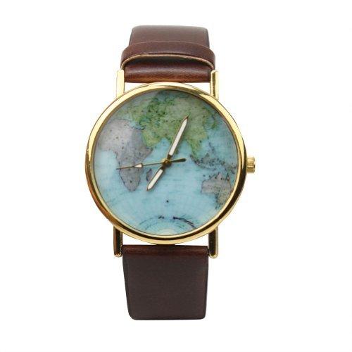 Vintage Reloj Analógico Cuarzo Pulsera Cuero PU Mapa de Mundo de Buena Venta