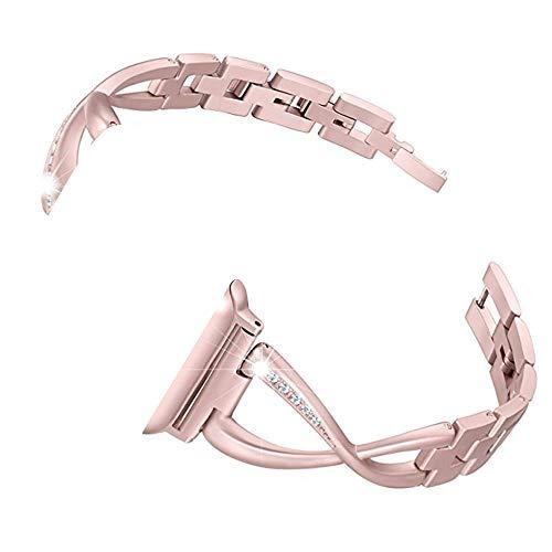 LCLrute Mit Verbindungsadapter Luxury Alloy Crystal Strap Band für Apple Watch 4 44mm Damenuhrenarmband Edelstahlarmband für Apple Watch-Armband (Roségold) (Strap Hollow 8)