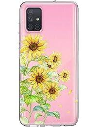 Oihxse Cristal Funda para Samsung Galaxy A51/M40S Transparente Suave TPU Flores Girasoles Amarillos Dibujo Diseño Serie Carcasa Flexible Bumper Anti-Choque Anti-Arañazos Protector (D10)