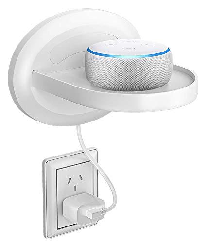 Bovon Kleines Wandregal, Wandhalterung für Dot 3, Sonos, Google WiFi, Smart Heim Lautsprecher & Smartphones, Clever Ladestation mit Kabelanordnung, Pefekte Lösung für Sache Weniger als 15 lb (Weiß)