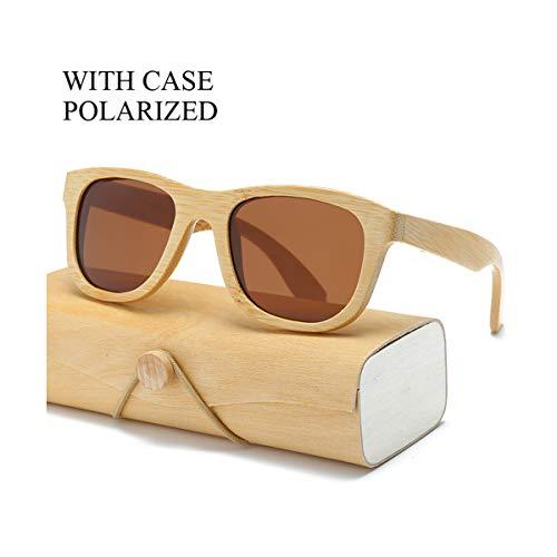 RTGreat Polarized Wood Sunglasses Sonnenbrille Men Women Square Bamboo Women Mirror Polaroid Sun Glasses For Men Women Retro De Sol Handmade Pink 1501KP C29 CASE