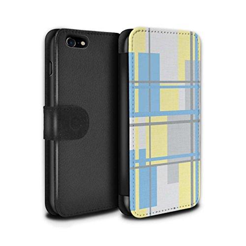 Stuff4 Coque/Etui/Housse Cuir PU Case/Cover pour Apple iPhone 7 / Zèbre Bande Modèle Design / Mode Jaune Collection Textile Tissu