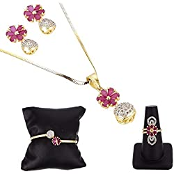 ZENEME Gold Plated White and Red Round American Diamond Pendant with Earrings, Bracelet and Ring Combo for Women