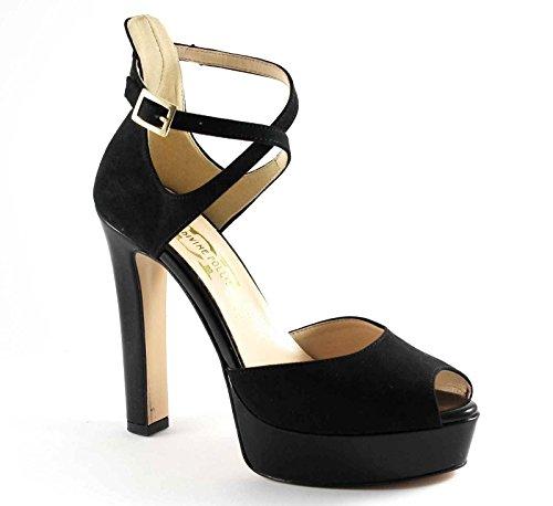 DIVINE FOLLIE 103 nero scarpa donna tacco plateaux spuntata Nero