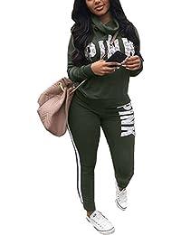 Akmipoem Women Letter Print Two Piece Sweatsuit Cowl Neck Sweatshirt and Skinny Long Pants Set Tracksuit