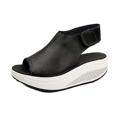 (Bluelucon Sandalen Damen Sommer Mit Absatz Blockabsatz Peep Toe Offen Elegant Sommerschuhe Party Outdoor Schuhe)