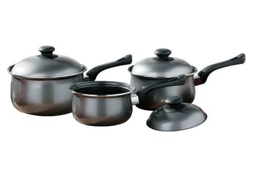 Premier Housewares 0204216 Casseruola Set Argento, Acciaio al Carbonio Antiaderente e Maniglie in Bachelite, 3 pezzi