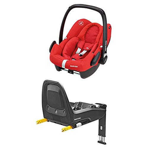 Maxi-Cosi Rock sichere Babyschale, Gruppe 0 + (0-13kg), Kindersitz für One i-Size, Nomad Red + FamilyFix One i-Size Isofix Basisstation, Gruppe 0 Plus/1 (0-18 kg), schwarz
