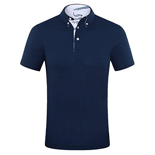 EAGEGOF Herren Polo Shirts Golf Funktional T-Shirt AN016, Marineblau - M
