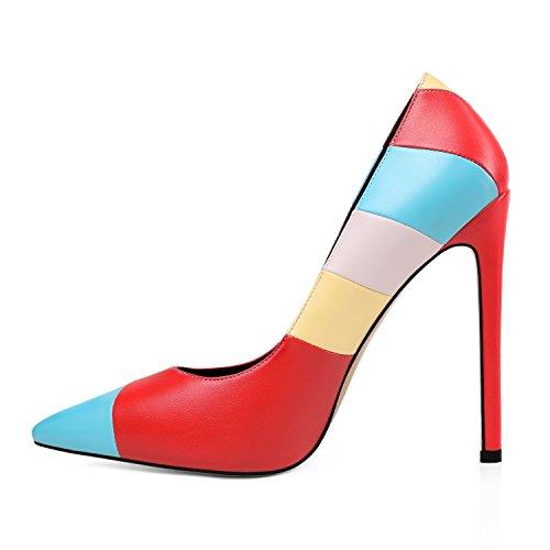 Emiki Regenbogen Bonbonfarben Kontrastnaht Damen Stilettos IM Frühling/Sommer/Herbst Schuhe Party Pumps-Regenbogen-EU45