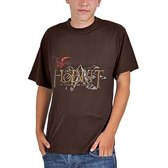 Der Hobbit - Eine unerwartete Reise An Unexpected Journey T-Shirt mit Film Logo, lizenziert, Baumwolle, braun - S