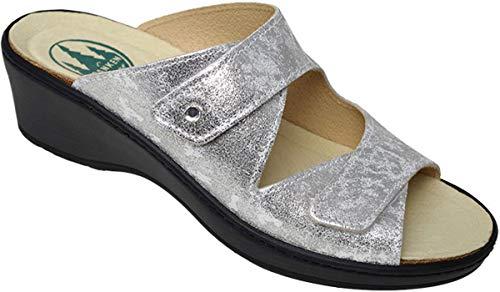 Damen Keilpantolette Silver aus Leder Größe 37 bis 41 Weite-H Wechselfußbett, Damen Größen:38, Farben:Silber