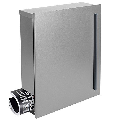 Design-Briefkasten mit Zeitungsfach 12 Liter silber seidenglanz (RAL 9006) MOCAVI Box 115 weißaluminium Wandbriefkasten Postkasten