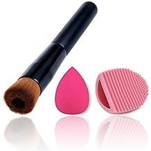 BrilliantDay Pro 1 Pcs brochas de maquillaje cosméticas Kit + 1 Esponja Fundación Puff + 1 Limpieza Maquillaje Guante - profesional cepillos / pinceles conjunto para Corrector Sombra de Ojos Ceja Fundación Polvo