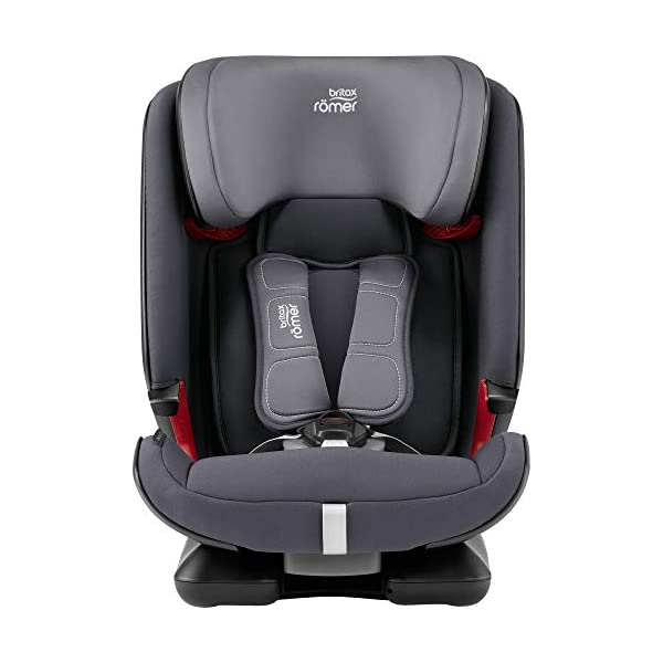 Britax Römer ADVANSAFIX IV M Group 1-2-3 (9-36KG) Car Seat- Storm Grey Britax Römer Our patented pivot link isofix system directs the force first downward into the vehicle seat, and then forward more gently - greatly reducing the risk of head and neck injury for your child We believe that a 5-point harness is the safest way to secure your child in a car seat because it keeps your child safe and tight in the seat's protective shell Soft neoprene performance chest pads fit comfortably on your child's chest. They help reduce your child's movement in the event of a collision, and add even greater comfort to the 5-point harness 4