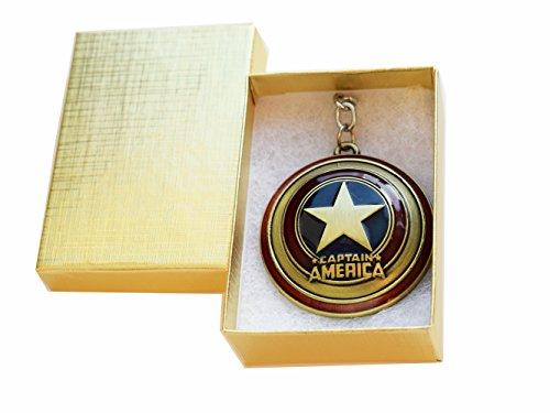 The Avengers Captain America Shield Inspired metal Keychain, super eroe pendente, gioielli per uomo, confezione regalo inclusa, Oro, cod. LE