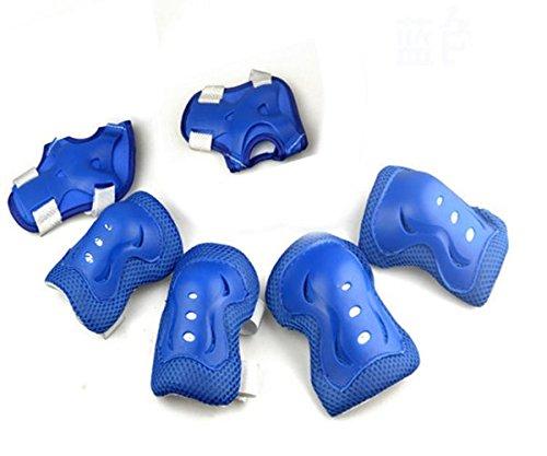 6 PC-Kids-Skating Roller Handgelenk Ellenbogen Knieschützer Protektoren für 3-13 Jahre Alt VSOAIR (blau) Ellenbogen, Handgelenk Und Knieschützer