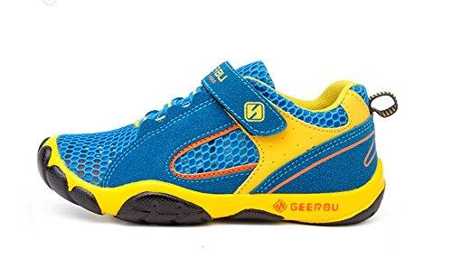 Wealsex Baskets Sneakers Basses Respirant Suédé Mesh Scratch Lacet Chaussures de Sport Running Compétition Entrainement Eté Garçon bleu clair