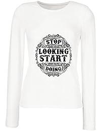 lepni.me Camisetas de Tirantes Para Hombre Deje de Mirar - Comience a Hacer - Refranes positivos Para el Día, motivaciones, Citas de…