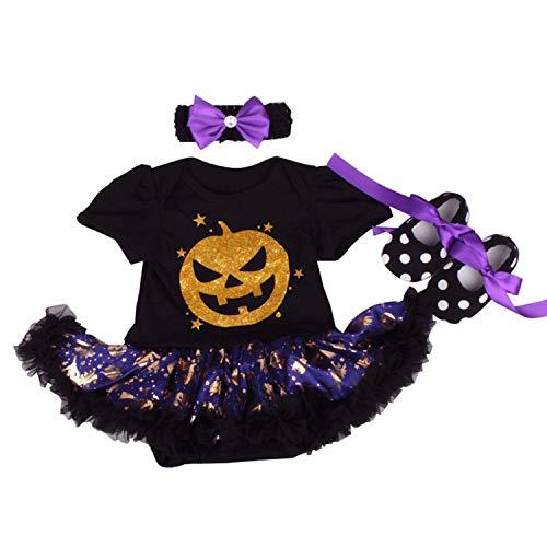 BabyPreg Baby Mädchen Mein 1. Halloween Kostüm, Babys 1. Erntedankfest 3 Stück (Schwarzer Kürbis, S / 3-6 Monate)