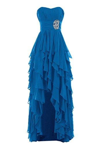 Sunvary Liebling Herzform Traegerlos Abendkleider Hi-Lo Chiffon Cocktailkleider Brautjungfernkleider Partykleider Blau