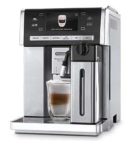 DeLonghi One Touch ESAM 6900 Kaffee-Vollautomat (15 bar, LatteCrema, PrimaDonna, Trinkschokoladenfunktion, Farbdisplay, Milchbehälter) silber/edelstahl