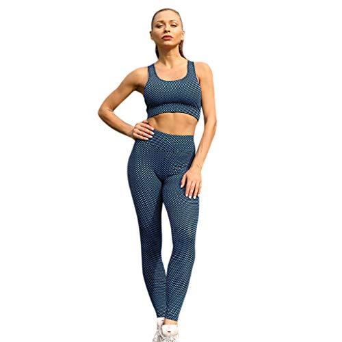 TianWlio Leggings Damen Frauen Hohe Taille Yoga Weste Legging Laufhose Hosenanzug Blau L