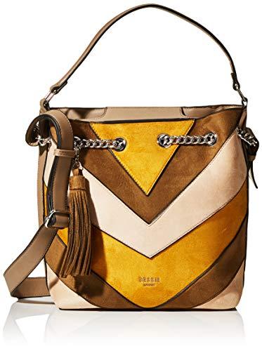 Bessie London Damen Suede Ring Chained Tassel Colour Block Shopper Schultertasche, Gelb (Yellow), 12x30x37 Centimeters