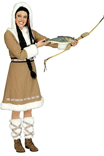 Eskimo Kostüm beige-weiß für Damen   Größe 44/46   3-teiliges Winter Kostüm   Inuit Faschingskostüm für Frauen   Inuk Kostüm für Karneval