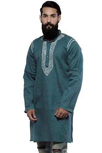 BDS-Chikan-Cotton-Linen-Base-Blue-Kurta-for-mens-with-White-Thread-Lucknow-Chikan-Work-BDS00217