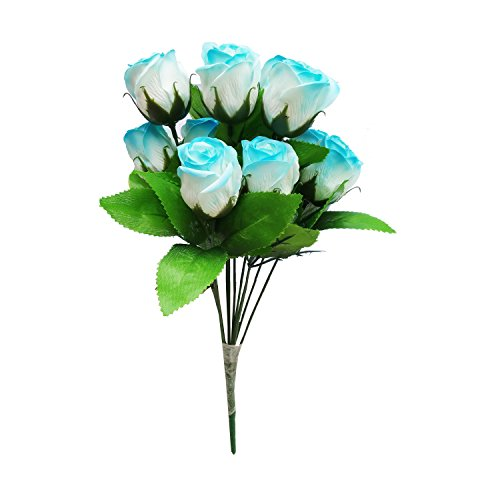 PG Creations Artificial Rose Flower Plant Bunch, Height 38 cm, 12 Flower...