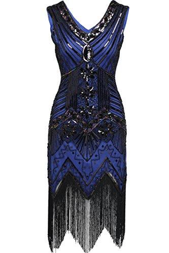 BABEYOND Damen Flapper Kleider voller Pailletten Retro 1920er Jahre Stil V-Ausschnitt Great Gatsby Motto Party Damen Kostüm Kleid (Größe S / UK8-10 / EU36-38, Blau)